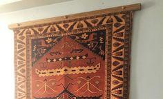 60 inch Medium Stained Oak Rug Hanger