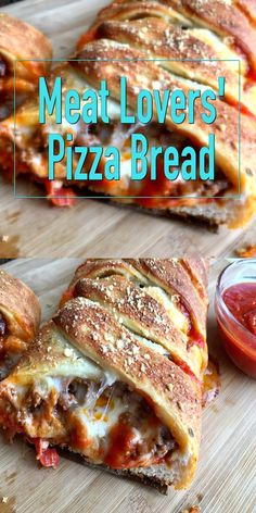 Meat Lovers' Pizza Bread is brimming with seasoned saucy ground beef, spicy pepperoni and three cheeses. A hearty appetizer, our Pizza Bread is a crowd-pleasing easy recipe to make. A perfect pizza recipe for game day, entertaining and the holidays! Fun Easy Recipes, Easy Meals, Best Appetizer Recipes, Beef Pizza, Meat Pizza Recipes, Pizza Pizza, Sauce Pizza, Meat Lovers Pizza, Meat Appetizers