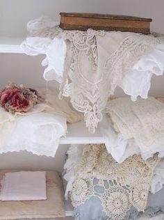 ٠•●●♥♥❤ஜ۩۞۩ஜஜ۩۞۩ஜ❤♥♥●   piles of laces and linens  ٠•●●♥♥❤ஜ۩۞۩ஜஜ۩۞۩ஜ❤♥♥●