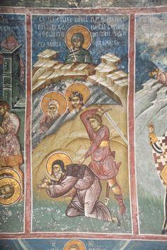 Paul, Pausirion and Theodotion (scene), St. Fresco, Tempera, Church Interior, Byzantine Icons, Religious Icons, Orthodox Icons, Mural Painting, Sacred Art, Illuminated Manuscript