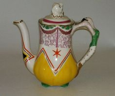 A very rare coffee pot, designed by Laura Knight for the 1935 Harrods Exhibition, produced in Bizarre by Clarice Cliff. Ceramic Pottery, Pottery Art, How To Make Tea, Fine Porcelain, Vintage Ceramic, Knight, Tea Pots, Art Projects, Clarice Cliff