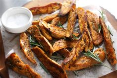 TODAY Show - No-Fry Rosemary Sweet Potato Fries.  Charm your guests with these Southern-inspired recipes for fried chicken sandwiches, sweet potato wedges and peach cobbler.