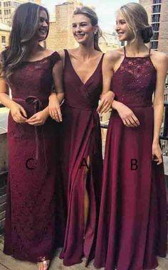 New Arrival A-Line V-Neck Floor-Length Grape Chiffon Long Bridesmaid Dress  wtih Split OK450 5c05465f468f