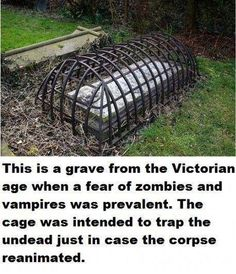 This is a grave from the Victorian age when a fear of zombies and vampires was prevalent. The cage was intended to trap the undead just in case the corpse reanimated. --- Wow, We Are A Bunch Of Weird Humans Who Need Prayer --- Vampires, Weird Facts, Fun Facts, Strange Facts, Unusual Facts, Random Facts, Entertainment Weekly, Interesting History, Interesting Facts