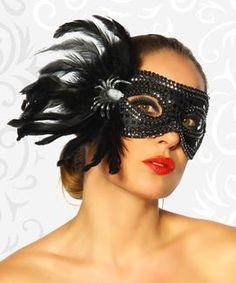 Maske mit Spinne und Federn schwarz Maskenball Karneval Clubbesuch #11774