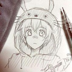 Totoro /oldartsulmao анимэ drawings, anime sketch и anime art. Anime Drawings Sketches, Anime Sketch, Manga Drawing, Manga Art, Cool Drawings, Anime Art, Sketches Of Boys, Totoro Drawing, Anime Girlxgirl