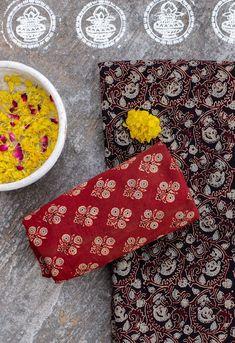 Ajrak or Ajrakh Brocade Blouse Designs, Brocade Blouses, Suit Fabric, Indian Heritage, Motif Design, Fabric Online, Color Combinations, Photography Ideas, Ethnic