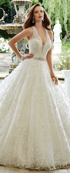 This Sophia Tolli Sleeveless allover lace over sequin ball gown features lace shoulder straps and a plunging V-neckline with illusion panel.