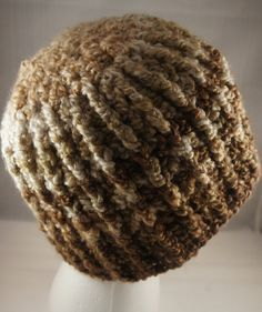 Men's Handmade Crochet Fuzzy Light and Dark Brown Striped Beanie- Ready to Ship on Etsy, $22.00
