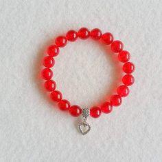 Red Malaysian Jade stretch bracelet with charm