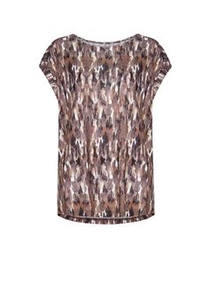 Abstract print t-shirt with round neck, wrapped short sleeves and decorative horizontal stitching at back. Abstract Print, Fashion Outlet, Mango, Sequin Skirt, T Shirt, Short Sleeves, Style Inspiration, My Style, Womens Fashion