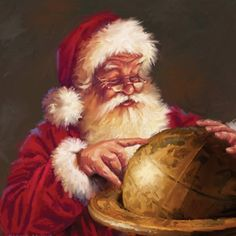 Santa mapping out his journey