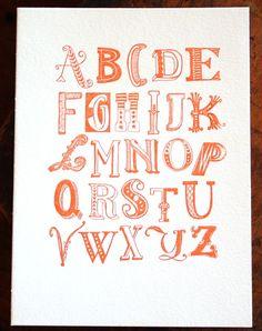 Hand drawn alphabet letterpress print - love it. Doodle Lettering, Creative Lettering, Lettering Design, Typography Love, Typography Letters, Alphabet Print, Alphabet Posters, Alphabet Soup, Handwritten Type