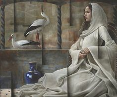 Artist Sergio Cerchi in his works managed to combine artistic images and geometric space. Modern Art Paintings, Beautiful Paintings, Art Pictures, Art Images, Conceptual Art, Figure Painting, Figurative Art, Female Art, New Art