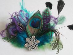 Peacock Feather Fascinator, Mardi Gras Hair Clip Fascinator, BIRDCAGE VEIL, Teal Jade Marine Blue Purple Feather Bridal Hair Clip Fascinator, $55.00