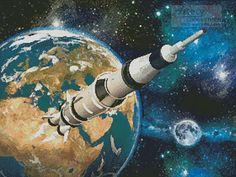 Artecy Cross Stitch. Space Rocket Cross Stitch Pattern to print online.
