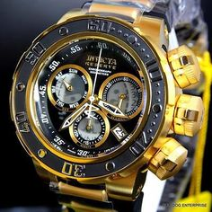 Invicta Relojes Klockor Invicta Reserve Subaqua Sea Dragon Swiss Black Gold Chronograph Watch New. Men's Watches, Cool Watches, Fashion Watches, Invicta Mens Watches, Jewelry Watches, Jewelry Bracelets, Patek Philippe, Relogio Invicta Pro Diver, Swiss Automatic Watches