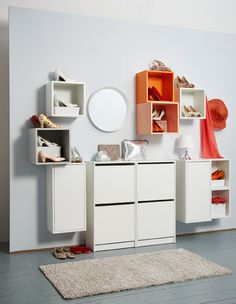 Orange and white open storage displays pairs of high heels, while closed storage stores other pairs.