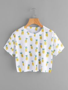 SheIn offers Pineapple Print Tee & more to fit your fashionable needs. SheIn offers Pineapple Print Tee & more to fit your fashionable needs. Teenage Outfits, Cute Girl Outfits, Cute Casual Outfits, Kids Outfits, Tee T Shirt, Crop Tee, Girls Fashion Clothes, Teen Fashion Outfits, Fashion Ideas