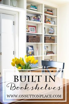 Built In Bookshelves   Ideas for adding bookshelves around a door   onsuttonplace.com
