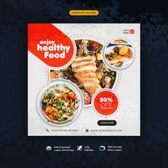 Food and restaurant social media instagr. Food Graphic Design, Food Menu Design, Food Poster Design, Social Media Poster, Social Media Banner, Social Media Design, Web Banner Design, Web Design, Food Banner