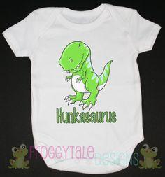Boys Hunkasaurus Bright Dinosaur Bodysuit Onesie For Little Baby Boys- CUSTOM. $11.95, via Etsy.