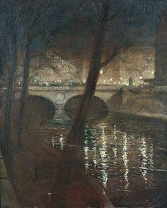 'Paris, la Nuit' (c.1919) by British painter & printmaker Christopher Richard Wynne Nevinson (1889-1946). Oil on canvas, 20 x 16 in. via Offer Waterman