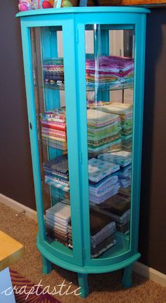 DIY Chalk Paint - Aqua Curio Cabinet  Oh my gosh Sista Lisa, this is the greatest thing to do with the old cuero cabinet from Grandma. Great place for your fabric, great color too. xoxoxox