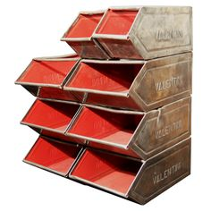 """Rare """"Valentini"""" Embossed Italian Stacking Steel Storage Bins. Not a DIY kind of item.  Not appropriate dry goods storage unit. Hmmm....probably should have pinned in the overpriced but super cool shoe storage unit board."""