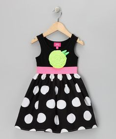 Take a look at this Black & White Polka Dot Dress - Toddler & Girls by Zunie & Pinky on #zulily today!