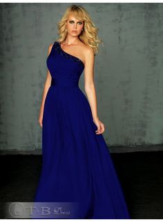 New Unique  Beaded One-shoulder With Rouched Bodice And A-line Skirt Brush Train Evening Dress tbdresses.com