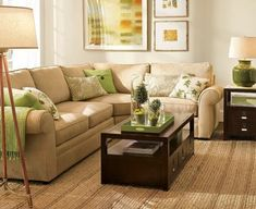Green and Brown Living Room Decor  - I like the feel of it...clean, relaxing....