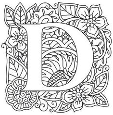 Craft delicate charm with this mehndi style alphabet! Printable Coloring Pages, Colouring Pages, Adult Coloring Pages, Coloring Books, Alphabet Design, Paper Embroidery, Embroidery Patterns, Doodle Lettering, Diy Letters