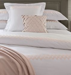 Bedroom, : Charming Bedroom Decoration Using Woven Pink Pillow Cover Along With Light Peach Yves Delorme Bed Linen And Rectangular Dark Grey Wood Headboard