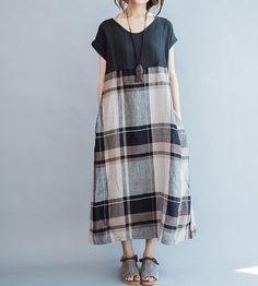 Loose fitting long maxi dress Sleeveless long sundress by MaLieb