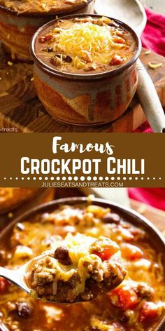 chili recipe Easy Crockpot Chili Recipe is the BEST crock pot chili recipe that everyone will be sure to love! Throw this Slow Cooker Chili in your Crock Pot today! Perfect winter recipe to warm you on a cold weather! Crock Pot Recipes, Chilli Recipes, Crock Pot Cooking, Top Recipes, Slow Cooker Recipes, Cooking Recipes, Crock Pot Chili, Chili Chili, Beef Recipes