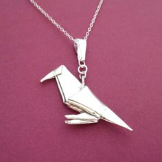 Hey, I found this really awesome Etsy listing at https://www.etsy.com/listing/112201451/silver-origami-crow-pendant-raven