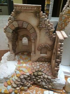 Pin by Isabel Guzman on Nativity Christmas Villages, Christmas Nativity, Christmas Time, Christmas Crafts, Christmas Decorations, Merry Christmas, Nativity Stable, Landscape Model, Wargaming Terrain