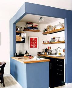 Simple Modern Small Kitchen Interior Design Ideas - Kitchen. Adorable for a mother in law suite or over garage apartment. Cute!!!
