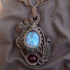 Abstract Universe Macrame Necklace Blue от KnottyBeadsbySally