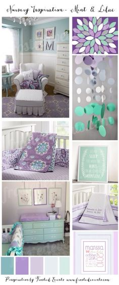 Nursery Inspiration- Mint & Lilac Girls nursery ideas. Different color scheme, but I like the decor.