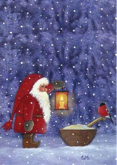 Magical narodec # 1 - gnome Nisse by Eva Melhuish Swedish Christmas, Noel Christmas, Vintage Christmas Cards, Scandinavian Christmas, Christmas Pictures, All Things Christmas, Winter Christmas, Christmas Crafts, Illustration Noel
