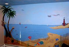 North Carolina Vacation Mural - Their favorite vacation place on the wall. All was included, down to the befriended turtle on the beach. Mural by Cricket Eyes  www.cricketseye.com