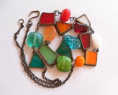 love the urban rustic feel in this stained glass Statement necklace  by ArtemisFantasy, $75.00