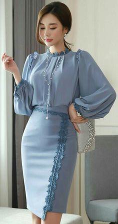 Lace Trim Asymmetrical Hem Pencil Skirt StyleOnme_Lace Trim Asymmetrischer Saum Bleistiftrock Mode This image has. K Fashion, Modest Fashion, Hijab Fashion, African Fashion, Korean Fashion, Fashion Dresses, Womens Fashion, Fashion Design, Fashion Trends