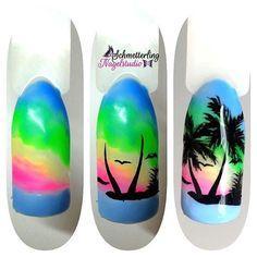 Uñas de pasajes Tropical Nail Designs, Beach Nail Art, Palm Tree Nails, Sea Nails, Nail Drawing, Vacation Nails, Tribal Nails, Kawaii Nails, Pretty Nail Art
