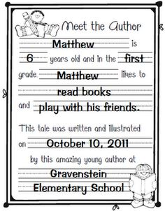 Meet the author page for writing workshop 1st Grade Writing, Work On Writing, First Grade Classroom, Kindergarten Writing, Teaching Writing, Writing Activities, Writing Ideas, Writing Process, Teaching Ideas