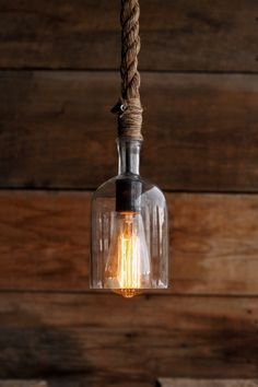 The Cast Away Pendant Light – Glass Bottle Industrial Rope Lights – Swag Ceiling Lamp – Accent Hanging Lighting – modern Rustic fixture - All For Decoration Diy Pendant Light, Pendant Lighting, Glass Bottle Crafts, Glass Bottles, Light Fittings, Light Fixtures, Bottle Lights, Unique Lighting, Lamp Design