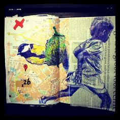Tomtom Tomtit and Running Girl - bic and marker on citymap, bic on newsarticle