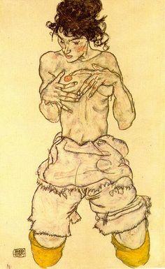 fabulous pictures: Egon Schiele, 'Semidesnudo arrodillado' (1917)